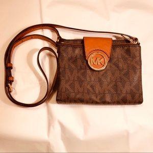 Michael Kors Brown Leather Wallet Crossbody